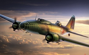 Picture the sky, figure, art, Soviet, The great Patriotic war, long-range bomber, (Il-4), DB-3