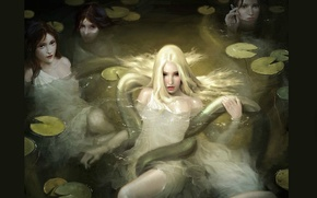 Picture water, snake, hands, mermaid, knees, witches