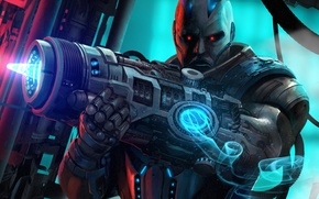 Picture look, weapons, fiction, art, cyborg, sci-fi