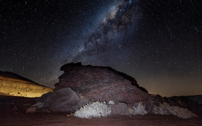 Picture night, stone, starry sky