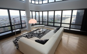 Wallpaper design, style, interior, penthouse, megapolis, city apartment