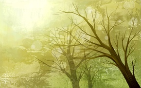 Picture trees, nature, paint, vector