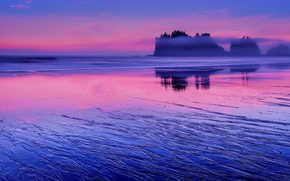Picture the sky, water, clouds, sunset, reflection, rocks, pink, shore, the evening, USA, blue, The Pacific …