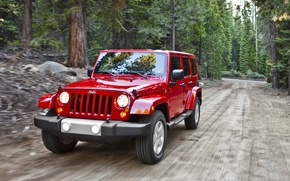 Picture road, trees, red, SUV, Jeep, Sahara, the front, Wrangler, Ringler, Jeep, Anlimited, Unlimited, Sugar