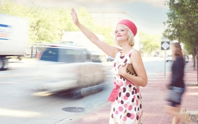 Picture vintage, retro, street, traffic, pretty woman
