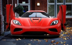 Picture autumn, leaves, red, Koenigsegg, beast, Red, autumn, Beast, Koenigsegg, agera R, Agera R