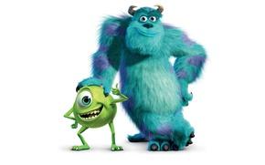 Picture White, Background, Disney, Pixar, Pixar, Mike, Cartoon, Disney, Monsters.Inc, Sally, VAZ, Sullivan, Monsters Inc.
