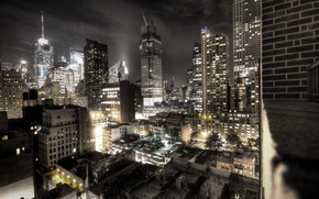 Picture night, the city, building, new York