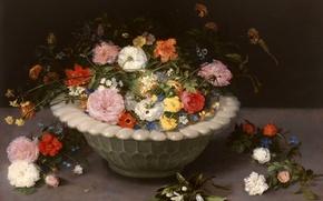 Picture leaves, petals, vase, Jan Brueghel the elder, Still life with Flowers
