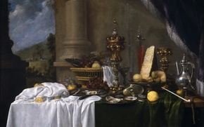 Picture vase, picture, Andries Benedetti, Table with Dessert, oysters, still life, fruit, food, basket, pitcher