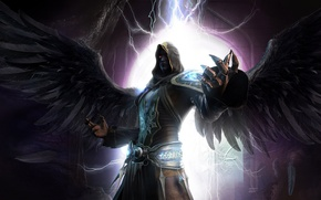 Picture wings, angel, seok chan yoo, cg wallpapers, dark angel