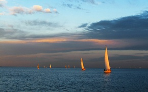Picture the sky, clouds, sunset, lake, boat, the evening, yacht, sail