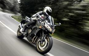 Picture asphalt, lights, speed, motorcycle, helmet, Yamaha, motor, FZ1s, Do