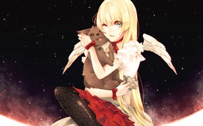 Picture cat, girl, angel, anime, art, Nill, Dogs: Bullets & Carnage