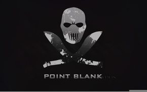 Picture the game, skull, minimalism, black background, Point blank