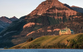 Picture forest, trees, mountains, lake, rocks, Canada, the hotel, Alberta, Waterton Lakes National Park, Prince of …