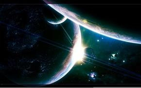 Wallpaper ship, space, satellite