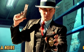 Picture gun, detective, badge, L. A noire, rock star game
