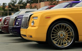Picture purple, yellow, red, red, yellow, phantom, phantom, purple, Rolls-royce, rolls Royce