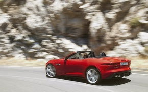 Picture movement, turn, Jaguar, convertible, side view, red, jaguar, f-type