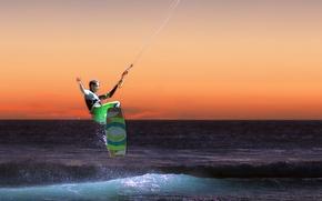 Picture sea, wave, light, sunset, horizon, extreme sports, kitesurfing, Kiteboard, the kitesurfer