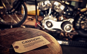 Picture caution, motorcycle, workshop