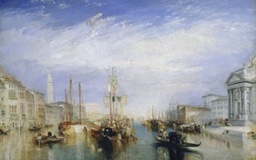 Picture sea, home, picture, boats, channel, Venice, the urban landscape, William Turner, from the Porch of …
