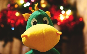 Wallpaper dragon, bokeh, heat, green, new year, dragon, yellow