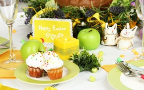 Picture flowers, table, eggs, Easter, cake, cake, flowers, Easter, eggs, holiday, blessed