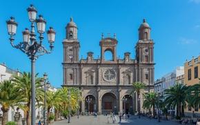 Picture the sky, palm trees, blue, home, area, lights, temple, Sunny, Spain, Tenerife, San Telmo