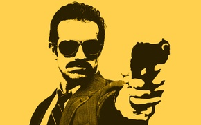Wallpaper yellow, gun, figure, Minimalism, glasses, male, detective, COP, cop