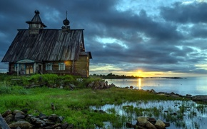Picture lake, house, morning