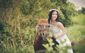 Wallpaper wreath, horse, smile, face, rider, horse, dress, Asian