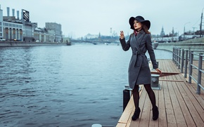 Picture autumn, girl, pier, Russia, waiting, last ship