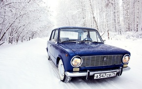 Picture winter, forest, snow, penny, blue, Lada, Lada, 2101, VAZ