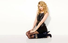 Picture girl, blonde, white background, tights, Taylor Swift, boots, beautiful, Taylor Swift