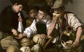 Wallpaper people, basket, picture, grapes, melon, genre, The Sellers Of Fruit, Jerónimo Jacinto de Espinosa