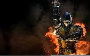 Picture Yellow, Fire, Ninja, Scorpio, Fighter, Mortal Kombat, Scorpion, Mortal Kombat X