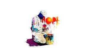 Wallpaper hope, paint, hope, black