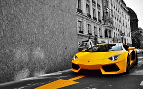 Picture road, yellow, the city, Lamborghini, Lamborghini, sports car, LP700-4, Aventador, luxury, Aventador