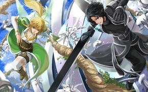 Wallpaper girl, weapons, art, battle, guy, sword art online, kirito, leafa, liuruoyu8888