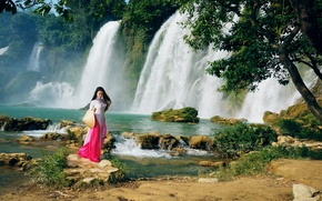 Picture girl, nature, waterfall, walk, East