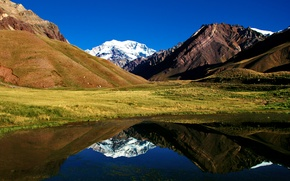 Wallpaper the sky, grass, mountains, lake, reflection, hills