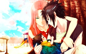 Picture the sky, girl, clouds, trees, smile, swing, child, petals, profile, blush, male, naruto, green eyes, …