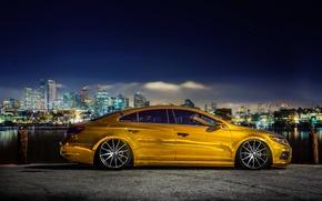 Picture the city, volkswagen, gold, gold, tuning, Volkswagen, passat, Passat