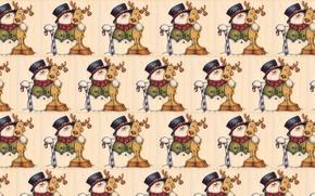 Wallpaper background, mood, holiday, texture, deer, art, New year, snowman, children's, caramel
