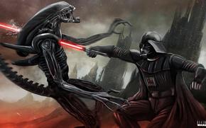 Picture alien, Xenomorph, star wars, crossover, Darth Vader
