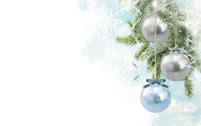 Picture snowflakes, branches, tape, balls, Christmas decorations