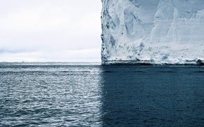 Wallpaper Iceberg, Sea, Water, Snow, Minimalistic