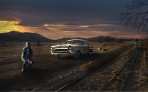 Picture road, machine, girl, pustosh